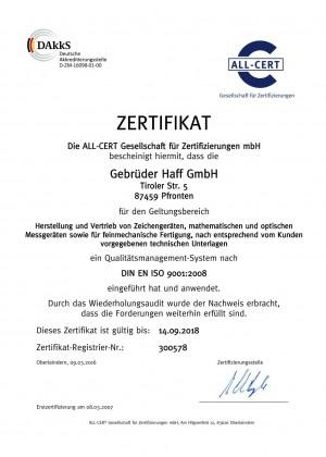 Zertifikat-HAFF-ISO-9001DIN EN ISO 9001:9008 von Gebr. HAFF Pfronten